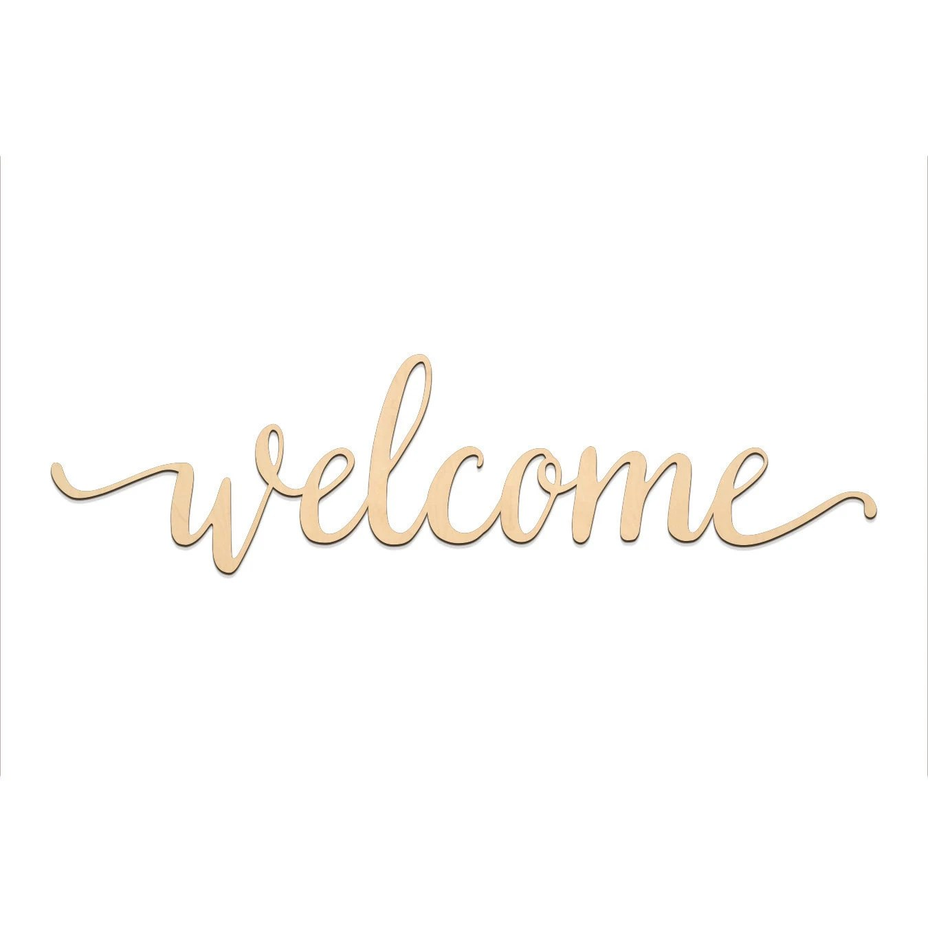 Welcome Script Word Wood Sign Wooden words Sign Art Rustic Etsy
