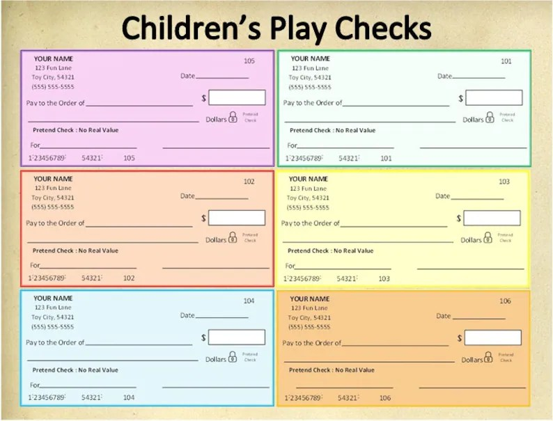 Personalized Printable Children\u0027s Play ChecksPretend Etsy