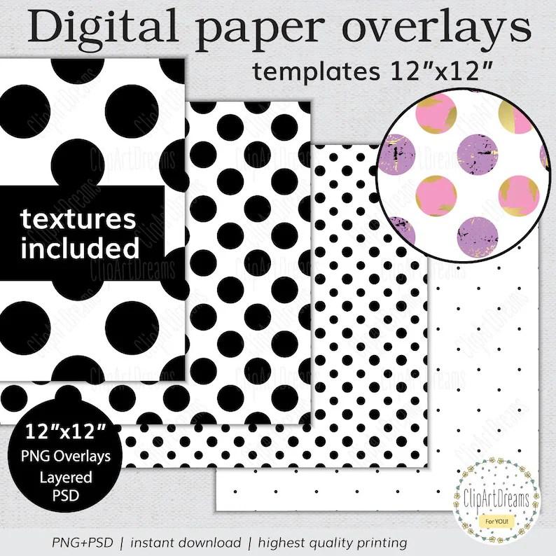 Polka Dot Digital Paper Template Set Polka Dots paper Etsy