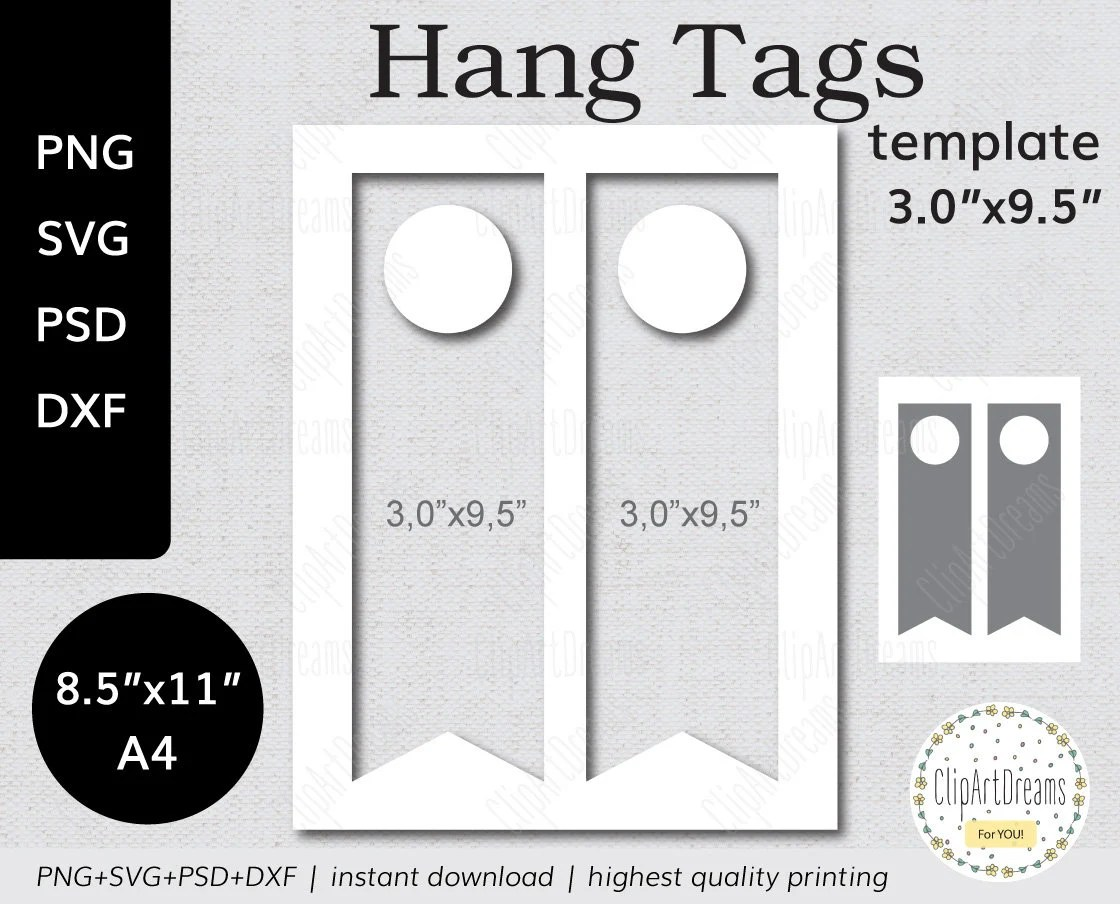 3x95 Wine Bottle Hang Tag template PNG PSD Formats table number