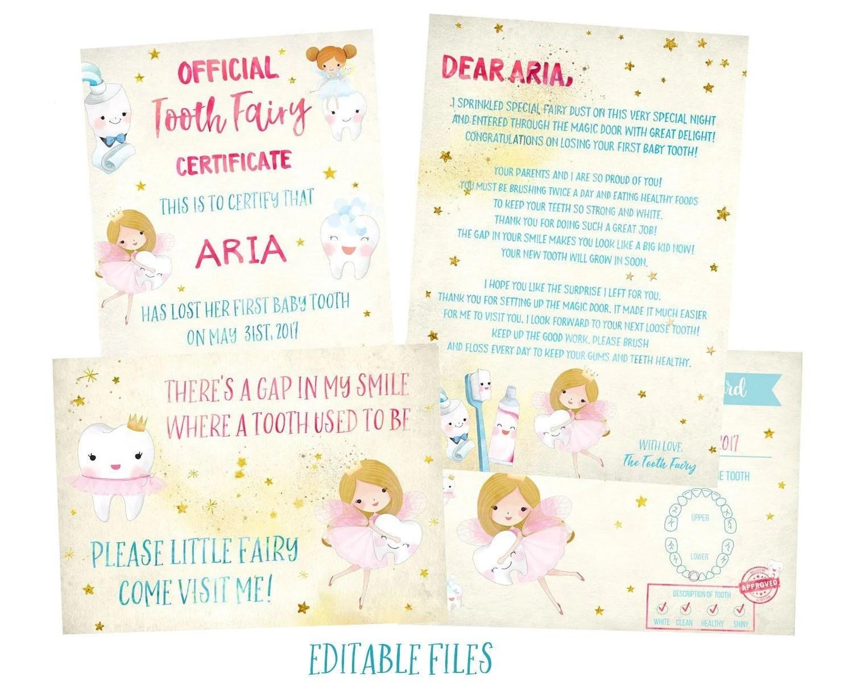 EDITABLE Tooth Fairy Receipt Tooth Fairy Letter Tooth Fairy Etsy