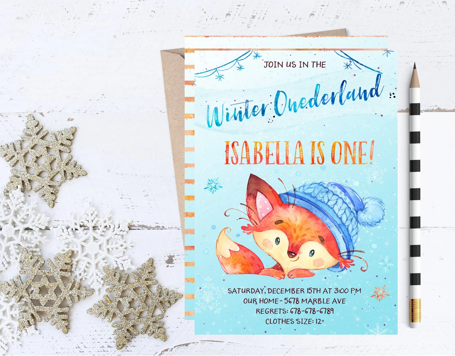 Winter Woodland Birthday Invitation Winter Fox Birthday Etsy