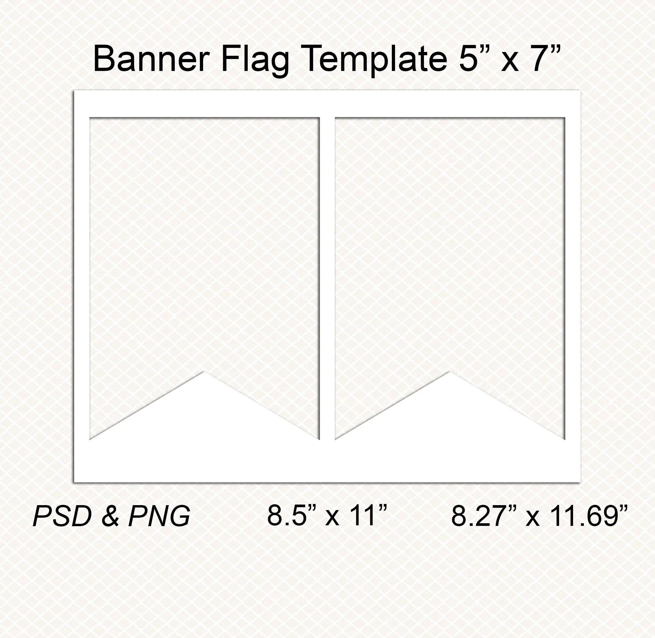 Flag Banner template Bunting template Pennant template Etsy
