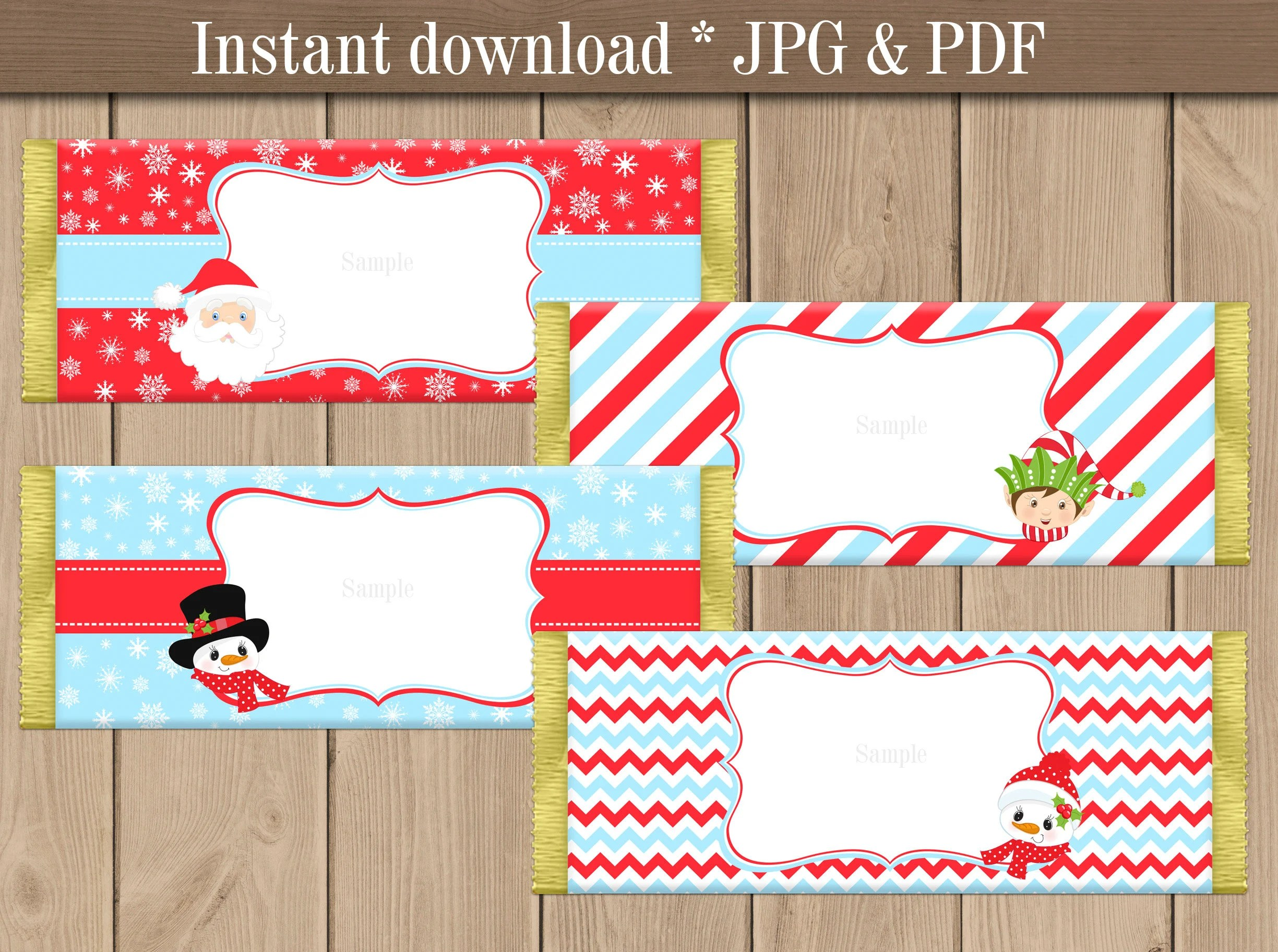 Christmas Candy bar Wrappers printable Holiday Chocolate Etsy
