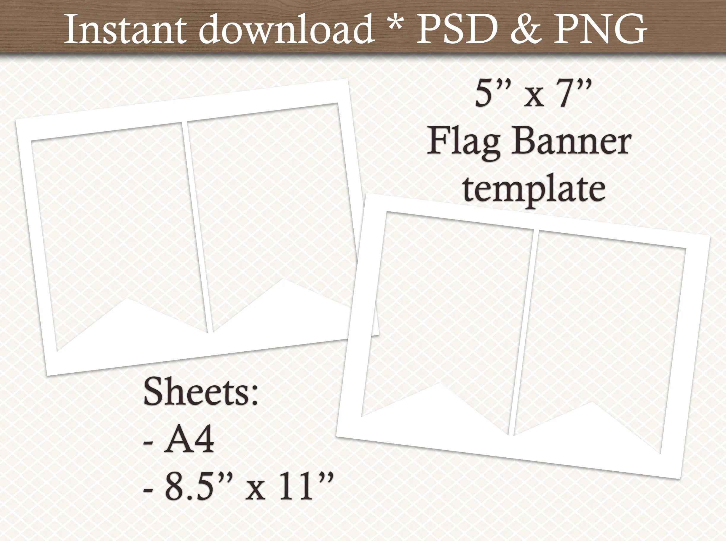 Flag Banner template Bunting template Pennant Banner Etsy