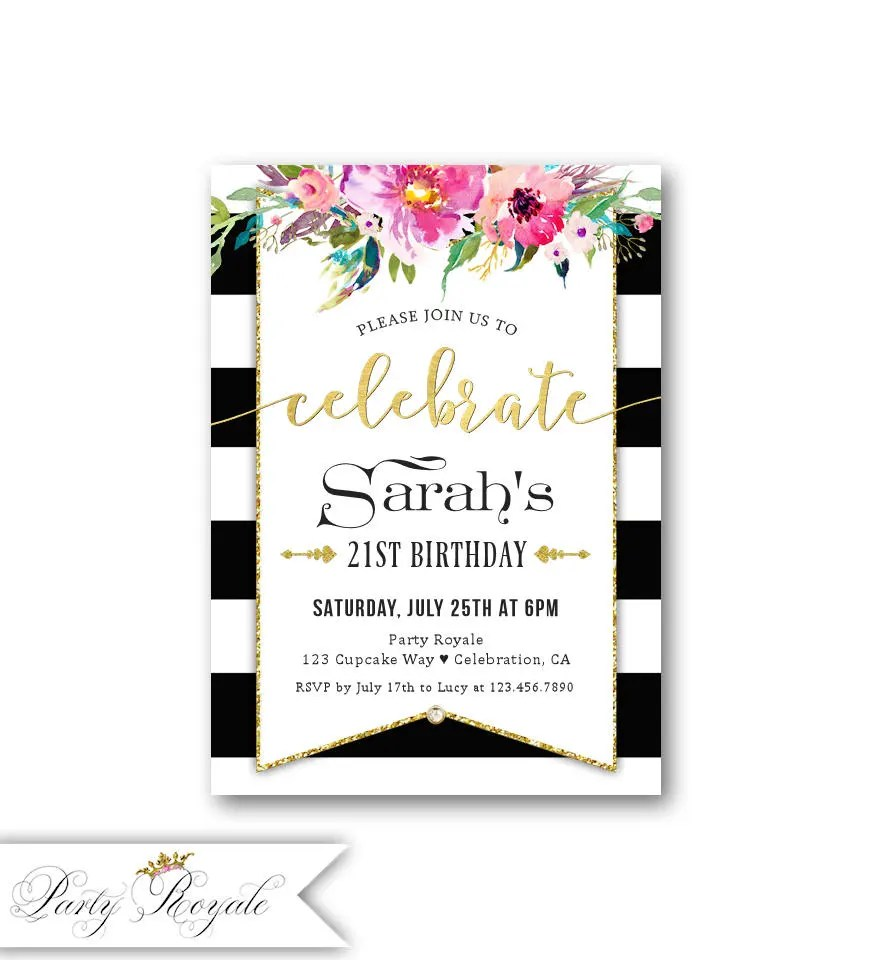 21st Birthday Invitations Black and White Birthday Party Etsy
