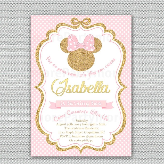 Pink and Gold Minnie Mouse Birthday Party Invitation First Etsy