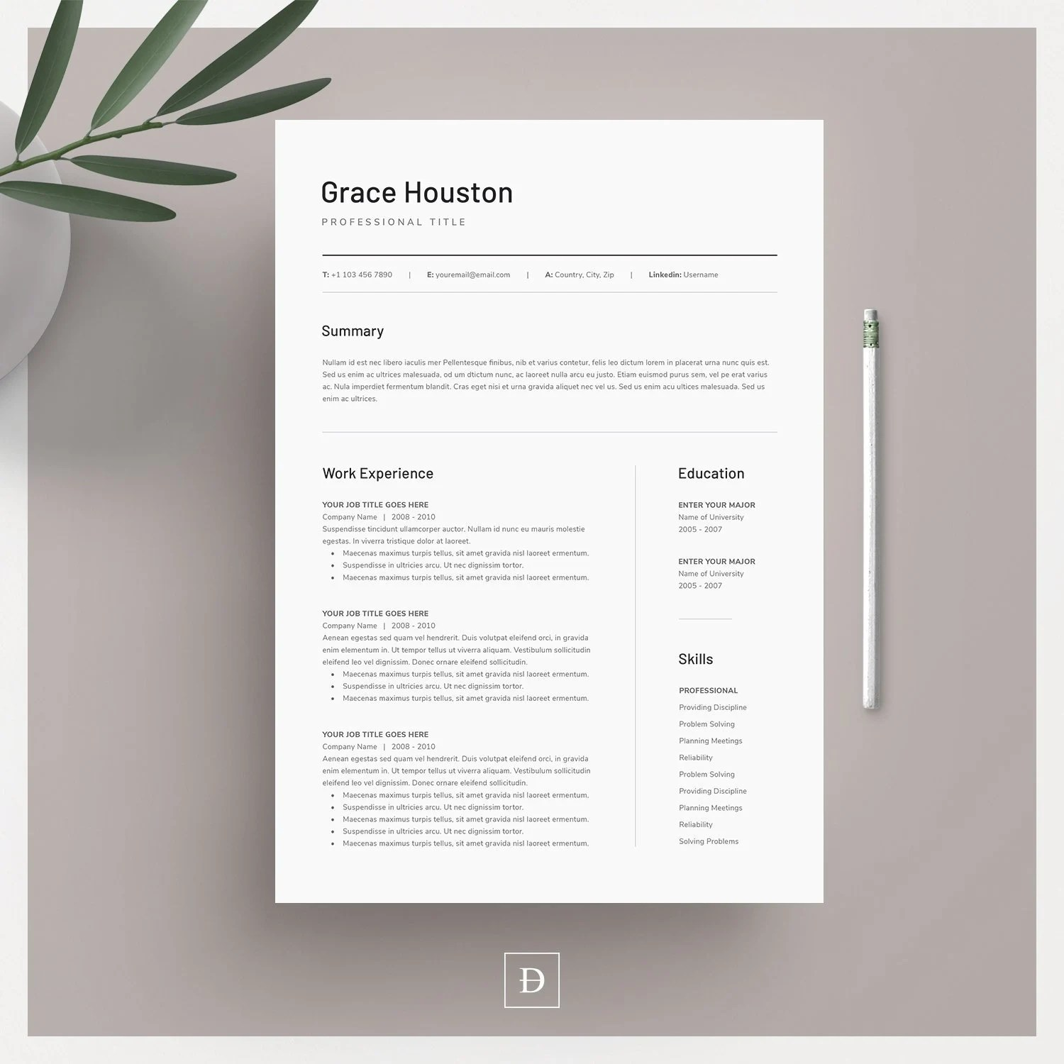 Clean Modern Resume Template 3 page CV Template Cover Etsy