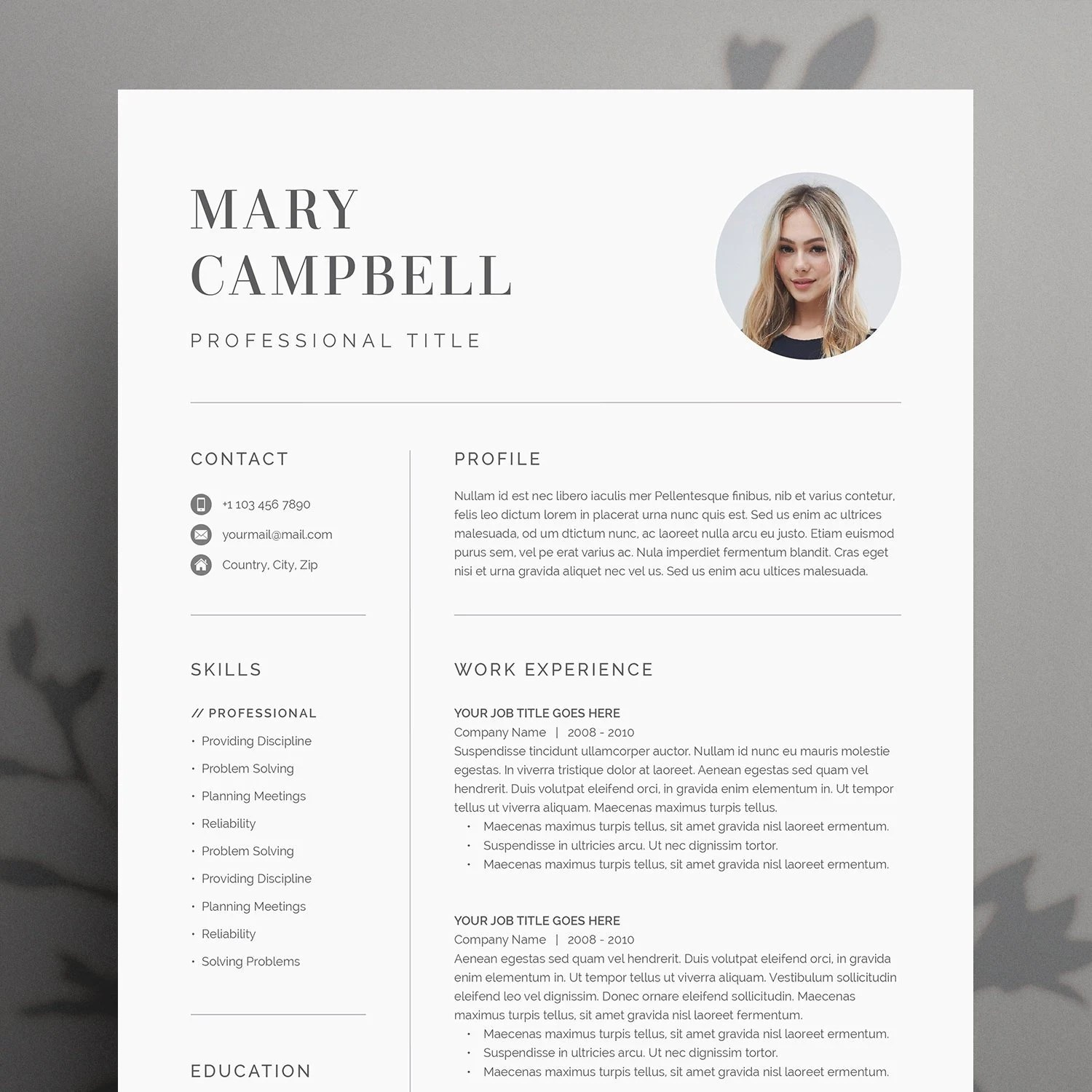 Modern Resume Template 4 page CV Template Cover Letter for Etsy