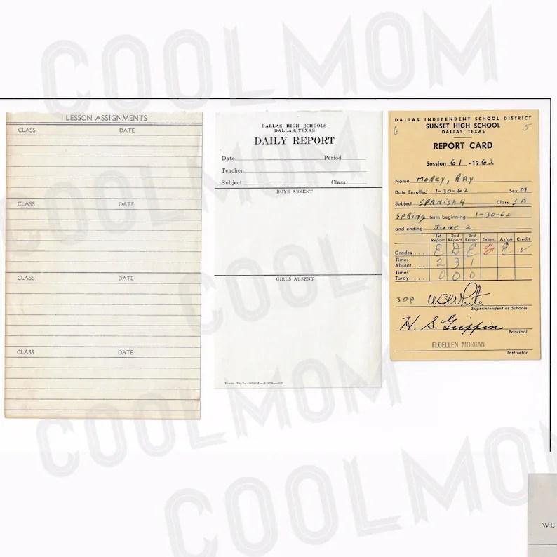 Vintage School Ephemera   Vocabulary cardsReport Cards /Junk Etsy