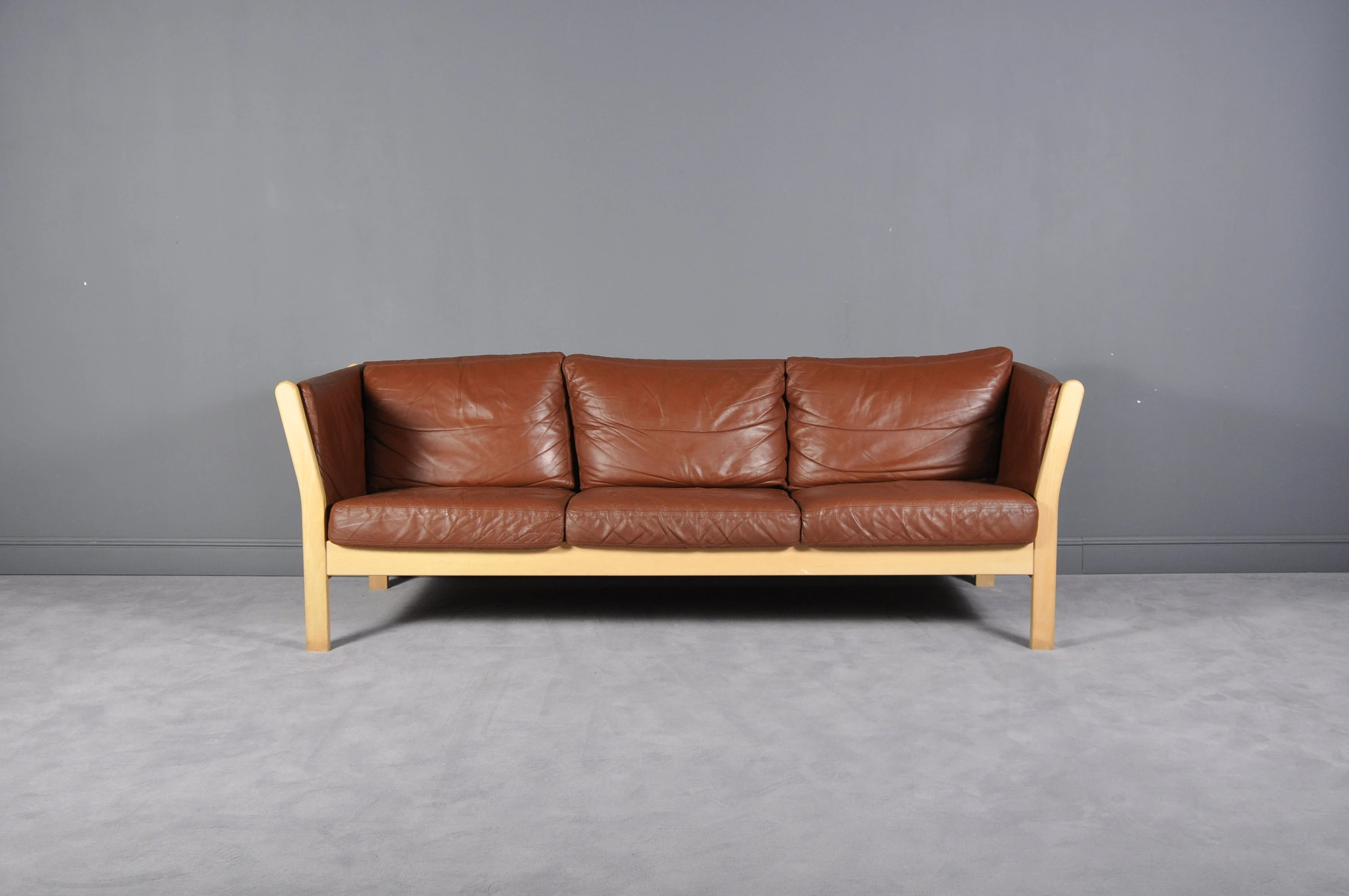 Polster Couch Danish Cognac Leather Sofa From Stouby Polster Mobelfabrik Denmark 1970s