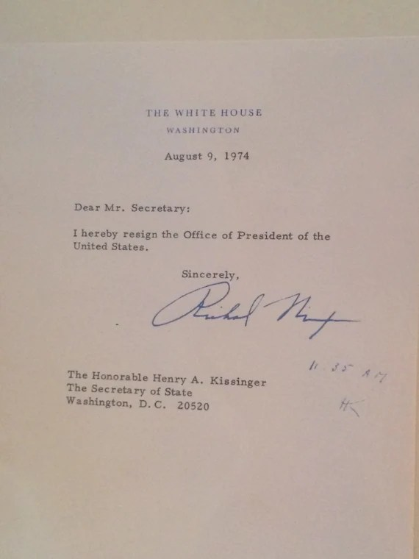 Souvenir Richard Nixon Resignation Letter 1974 - nixon resignation letter