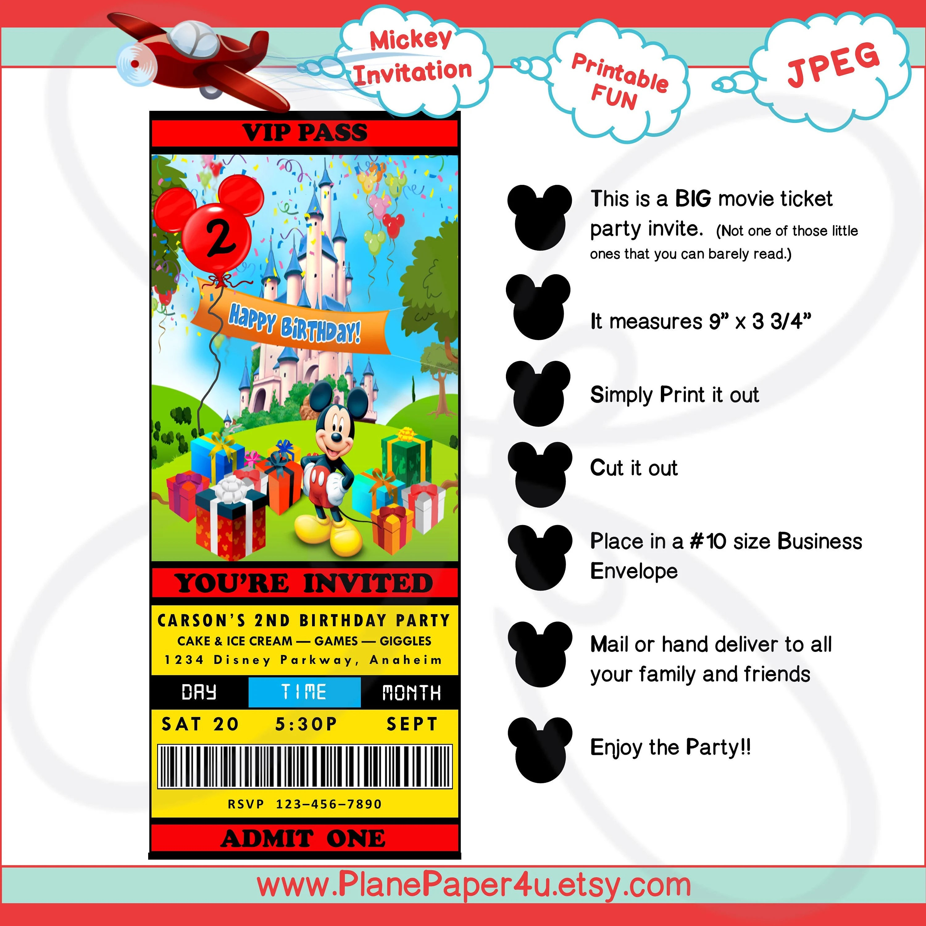 MICKEY MOUSE Birthday Party Invitation Digital Download Etsy