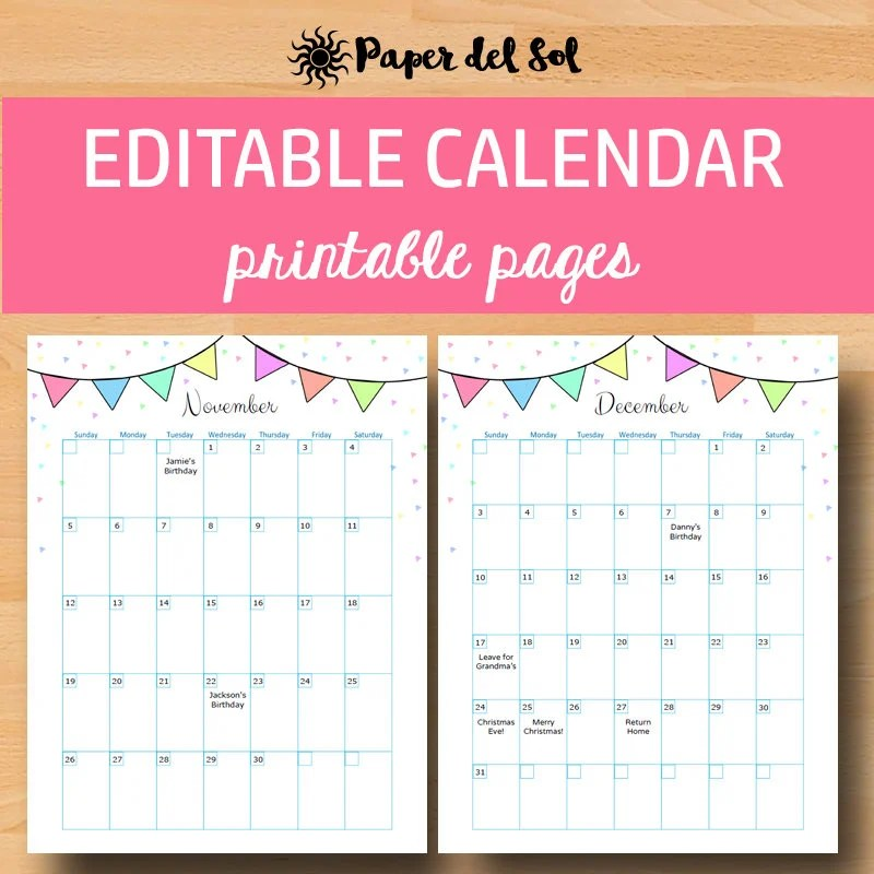 Printable Calendar 2019 Calendar Printable Calendars 2019 Etsy