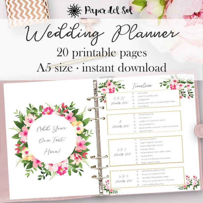 Wedding Planner Printable, Wedding Planner Pages, Do It Yourself Binder  Printables, Checklist Planning Book, A5 Pages, Instant Download