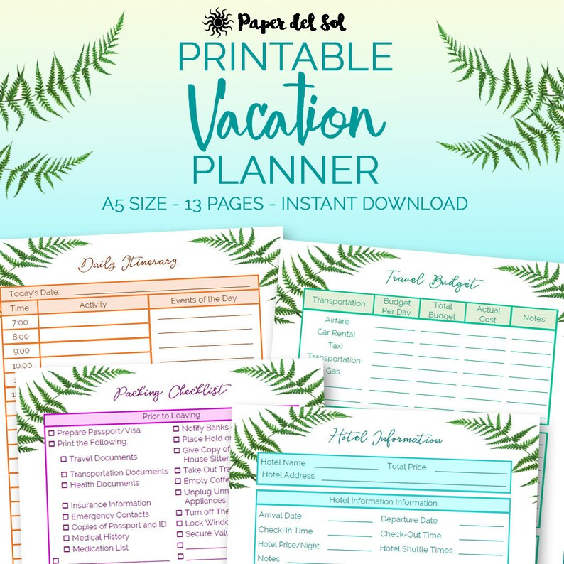 Travel Planner Printable Travel Itinerary Printable Road Etsy