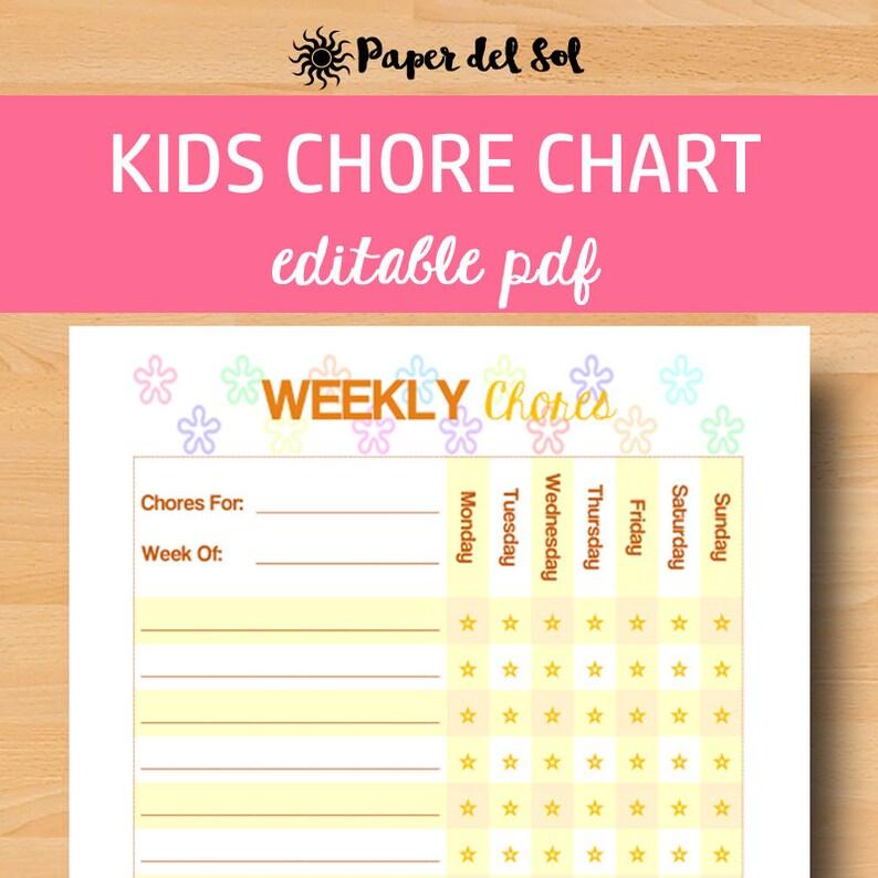 Editable Chore Chart Kids Chores Printable Kids Chore Chart Etsy