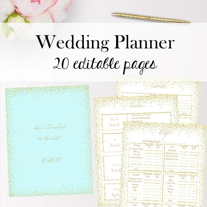 Wedding Planner Template Editable Wedding Binder Printable Etsy