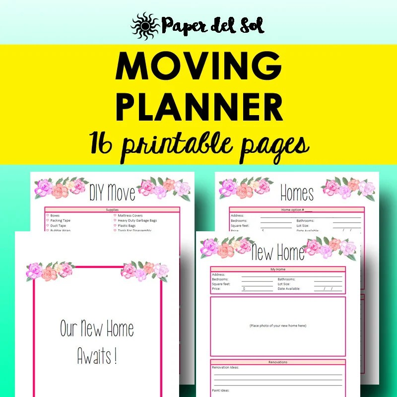 Moving Planner Printable Moving List Printable Planner Etsy
