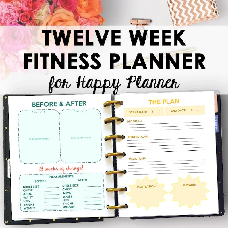 Happy Planner Fitness Journal and Weight Loss Planner for Etsy