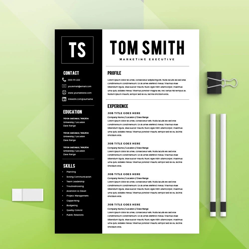 Two Page Resume Template Resume Builder CV Template Etsy