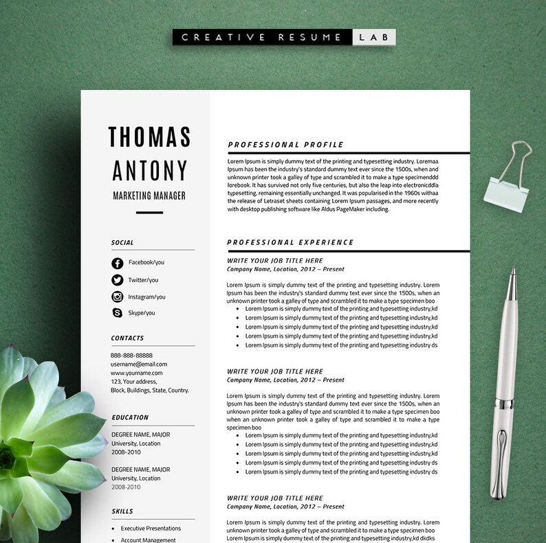 Thomas Professional Resume Template CV Template 3 Pages A4 Etsy