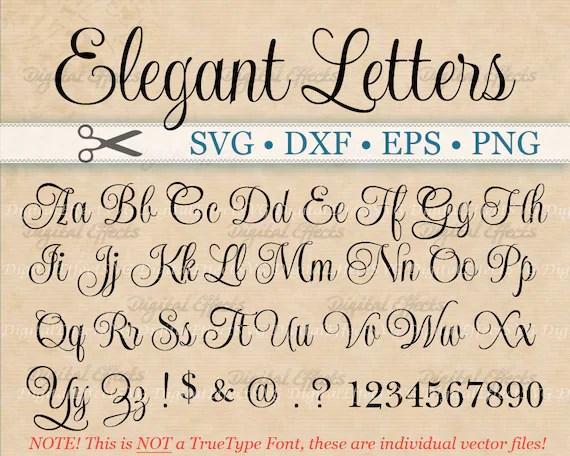 ELEGANT Script Font Monogram Svg Dxf Eps Png Digital Etsy