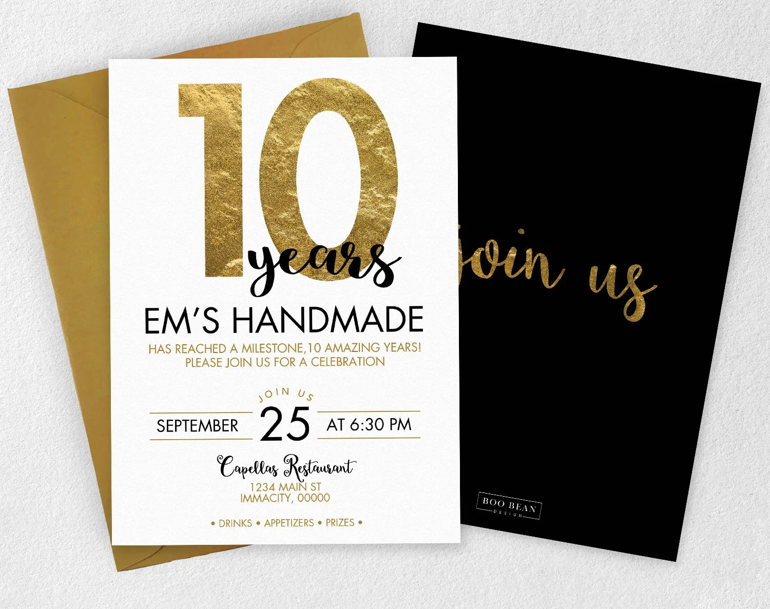 Business Event Invitation Gold Anniversary Invitation Work Etsy
