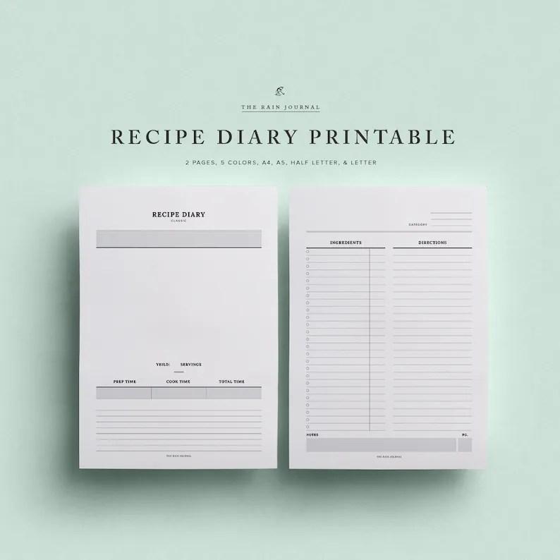 Recipe Diary Recipe Planner Recipe Book Fitness Planner Etsy