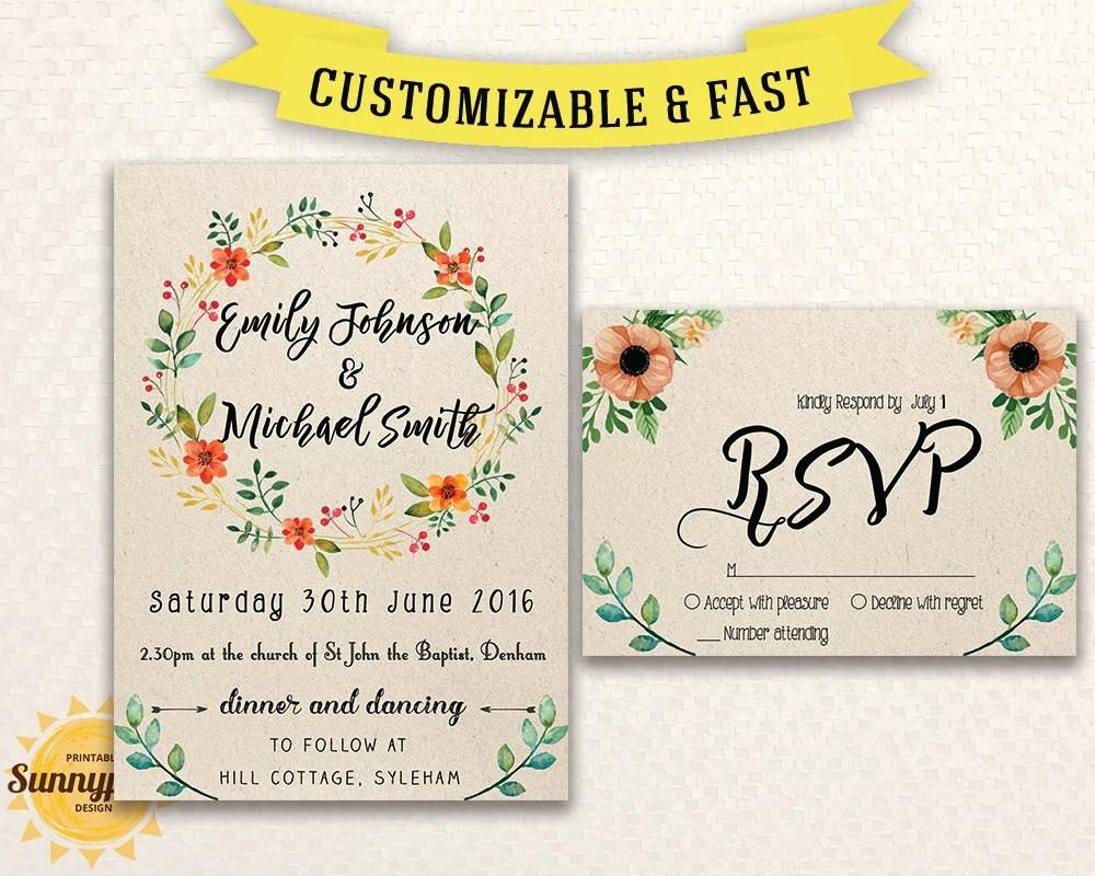 Printable wedding invitation template Wedding invitation Etsy