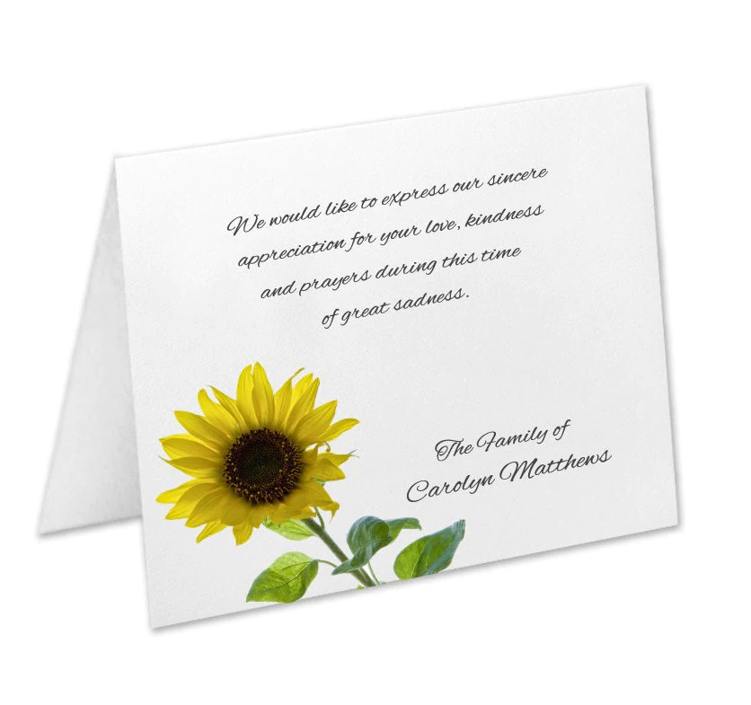 Sympathy Acknowledgement Cards, Funeral Thank You Cards, Sympathy