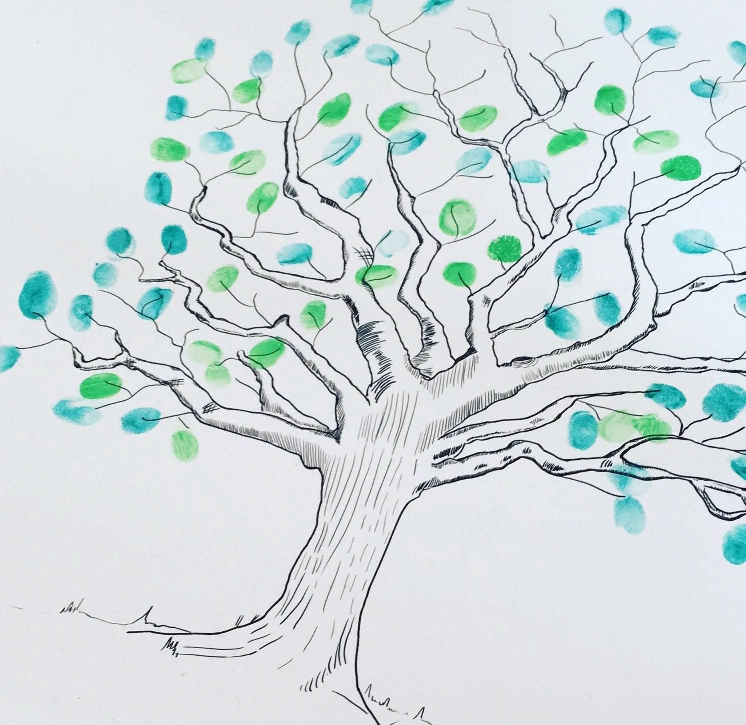PRINTABLE fingerprint tree guestbook tree illustration Etsy