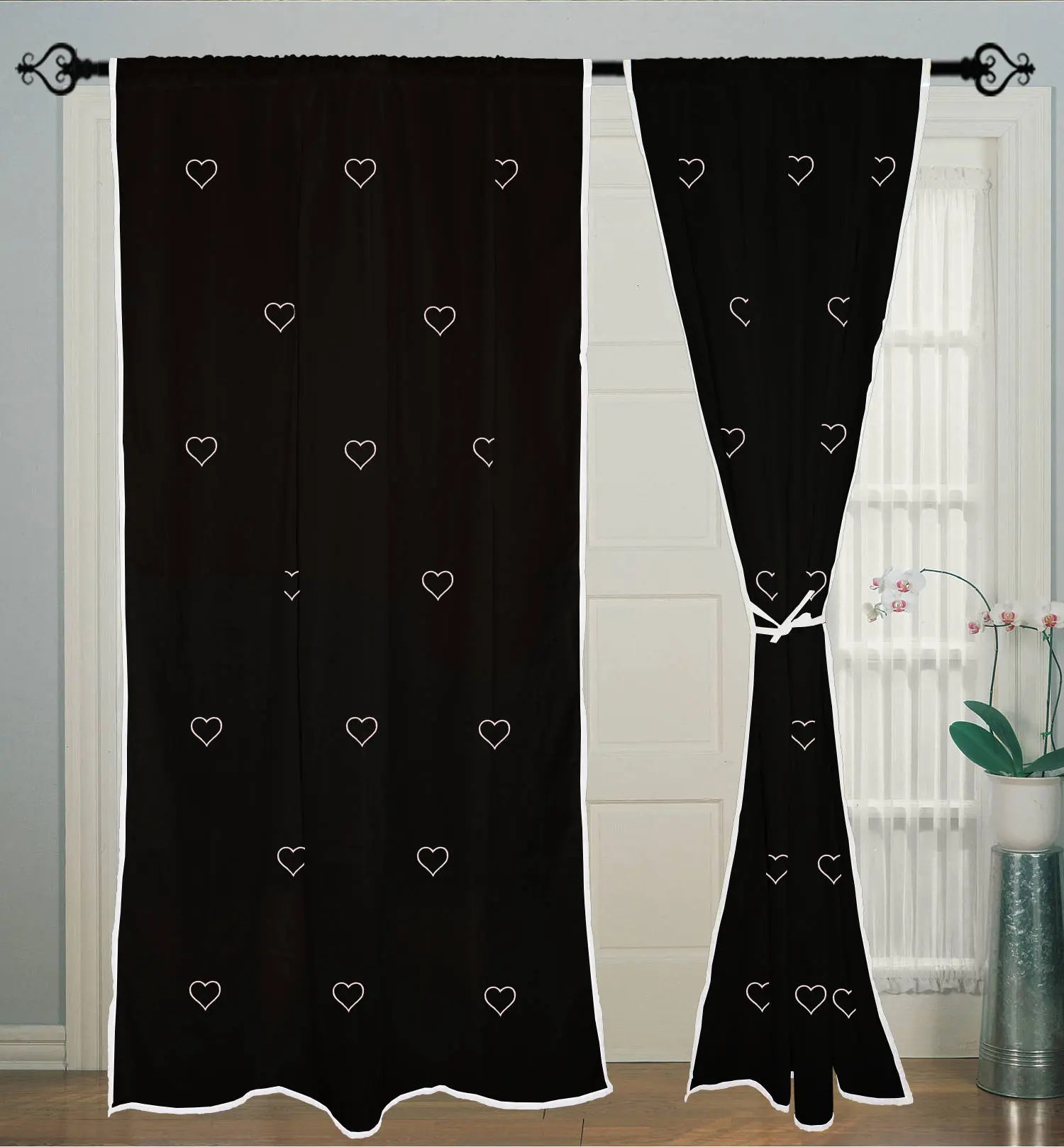 Cotton Curtain Panels 2 Pcs Heart Hand Block Printed Rod Pocket Curtains Panels Cotton Curtain Window Curtain Door Curtain Panel
