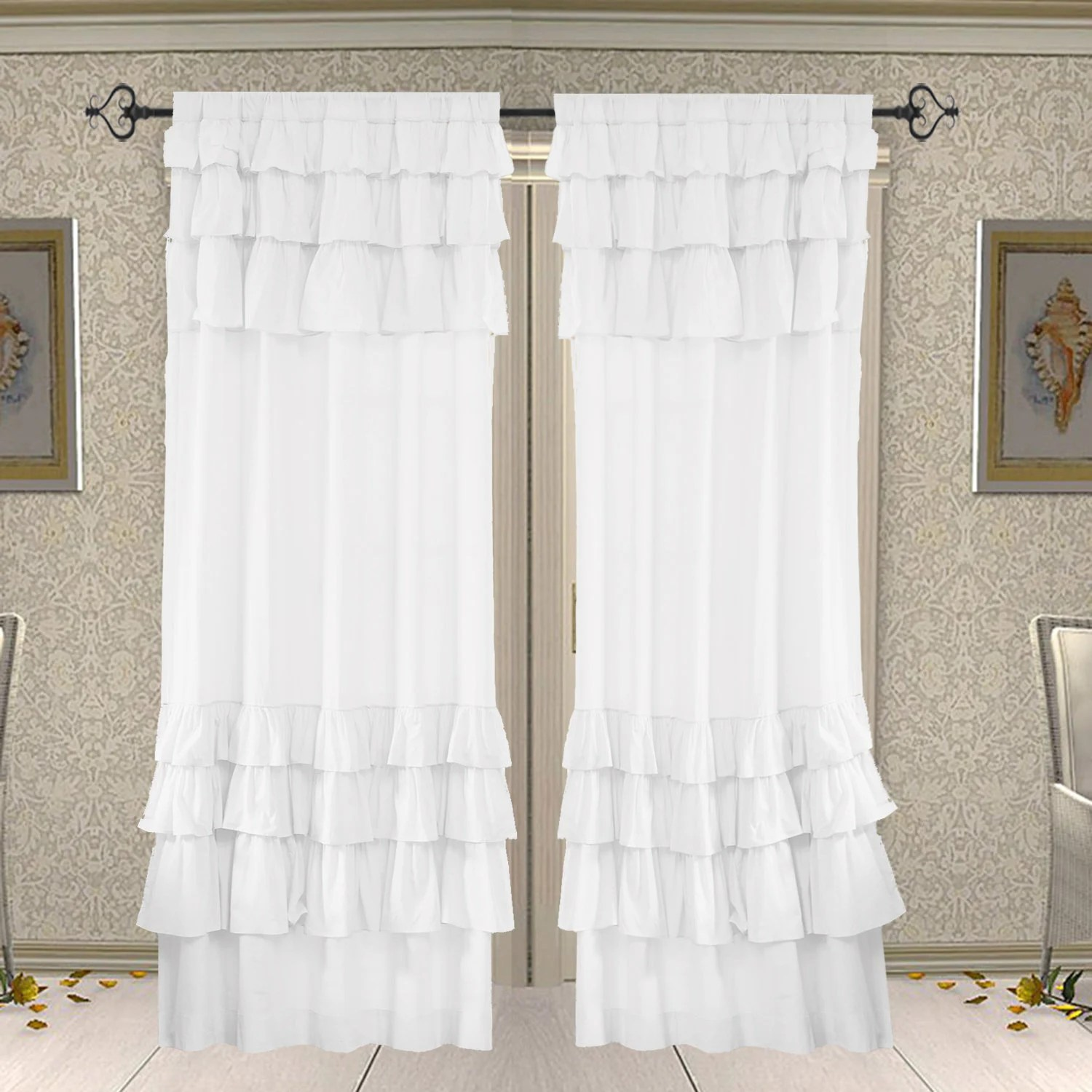 Cotton Curtain Panels 2 Pcs Window Ruffle Cotton Curtains Door Curtain Cotton Curtain Curtain Panels White Curtains