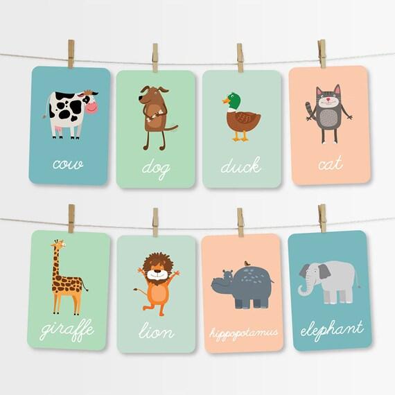 Jungle  Farm Animals Flash Cards Printable Kids Cards Etsy