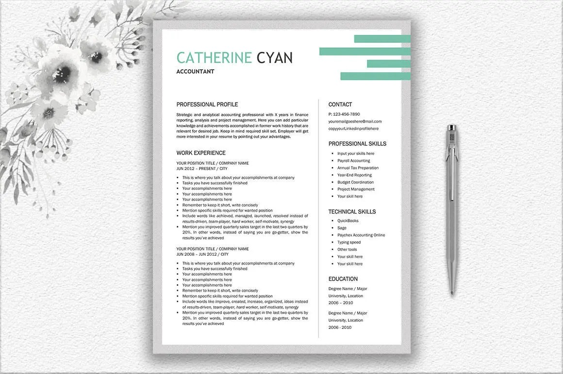 Creative and Modern Resume Template Cover Letter Design Etsy
