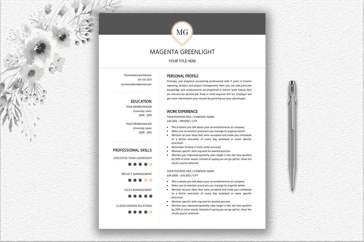 One Page Resume Two Page Resume Cover Letter Design Etsy