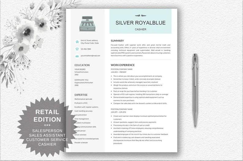 Cashier Resume Retail Resume Cover Letter CV Writing Etsy