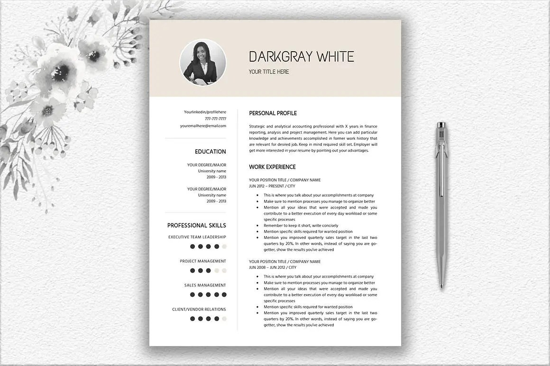 Elegant Resume With Photo Cover Letter Design CV Template Etsy
