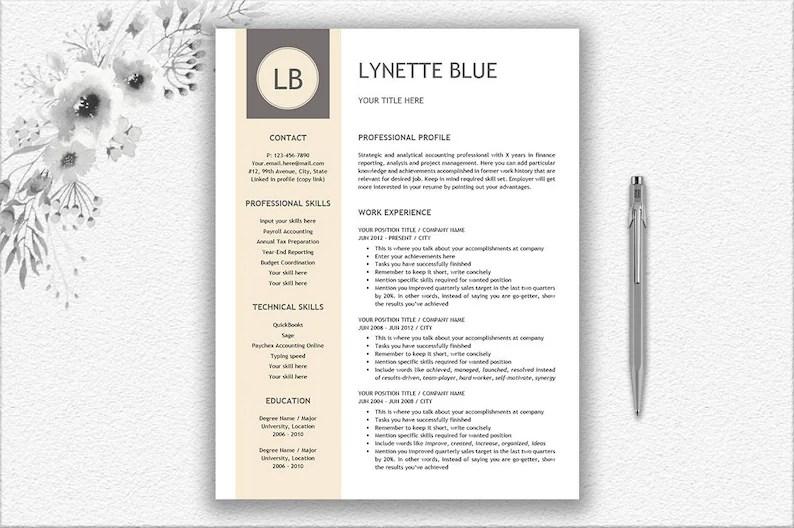 Resume Template Resume Writing Tips Cover Letter Design Etsy