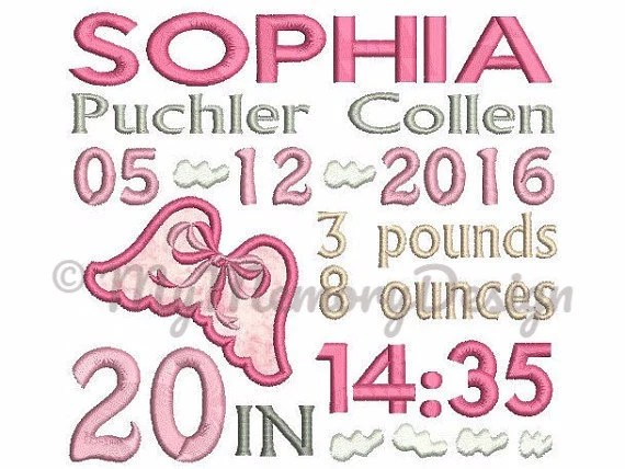 Custom Birth Announcement Embroidery - Baby Birth Embroidery