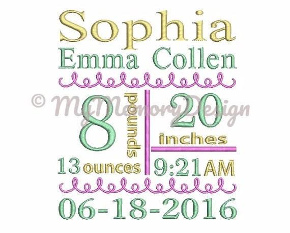 Birth Announcement Template Embroidery Subway Art Design 4x4 Etsy