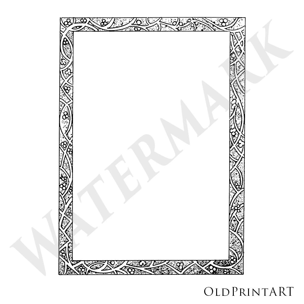 Vintage stencil ornamental Frame / Border Digital Frame Etsy