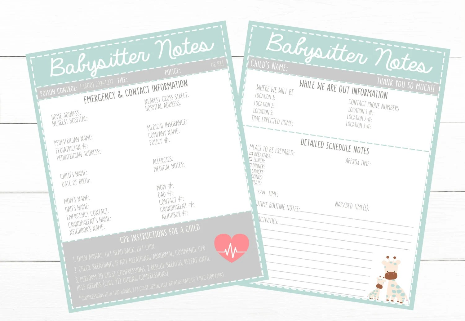 PRINTABLE CHILD Emergency Contacts  Schedule Information Etsy