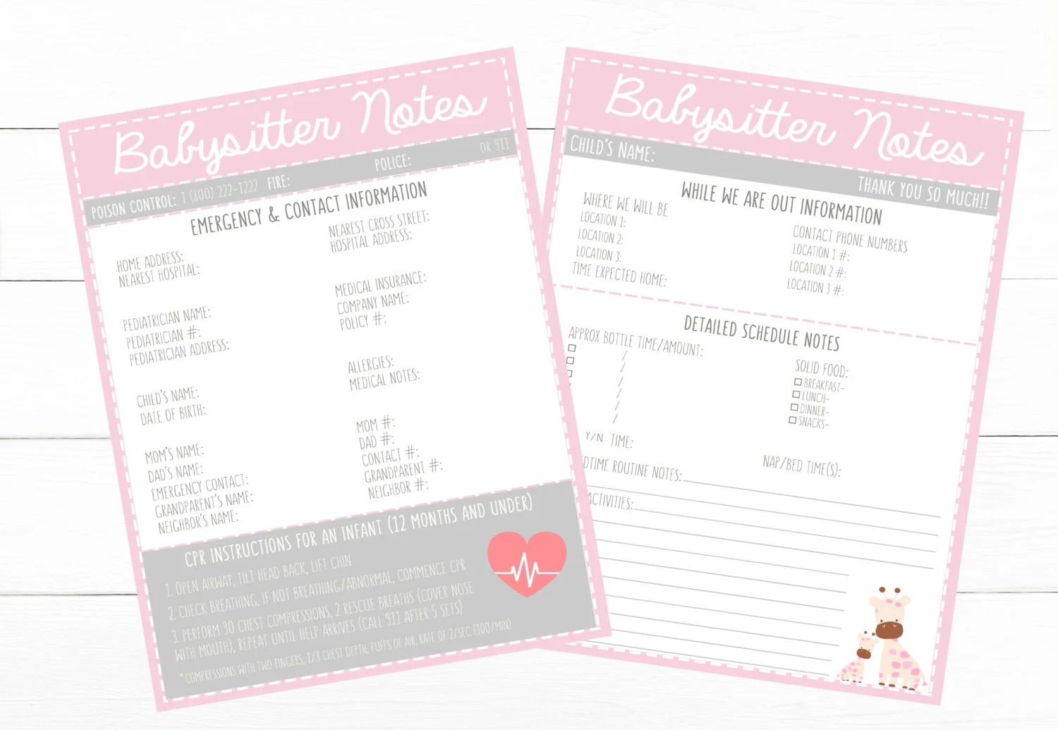 PRINTABLE INFANT Pink Emergency Contacts  Schedule Etsy
