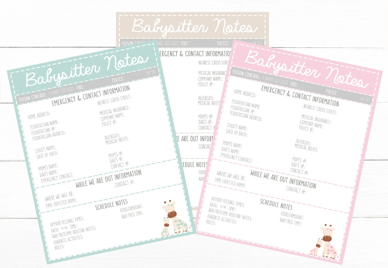 PRINTABLE Cute BABYSITTER NOTES Pink Emergency Contacts Etsy