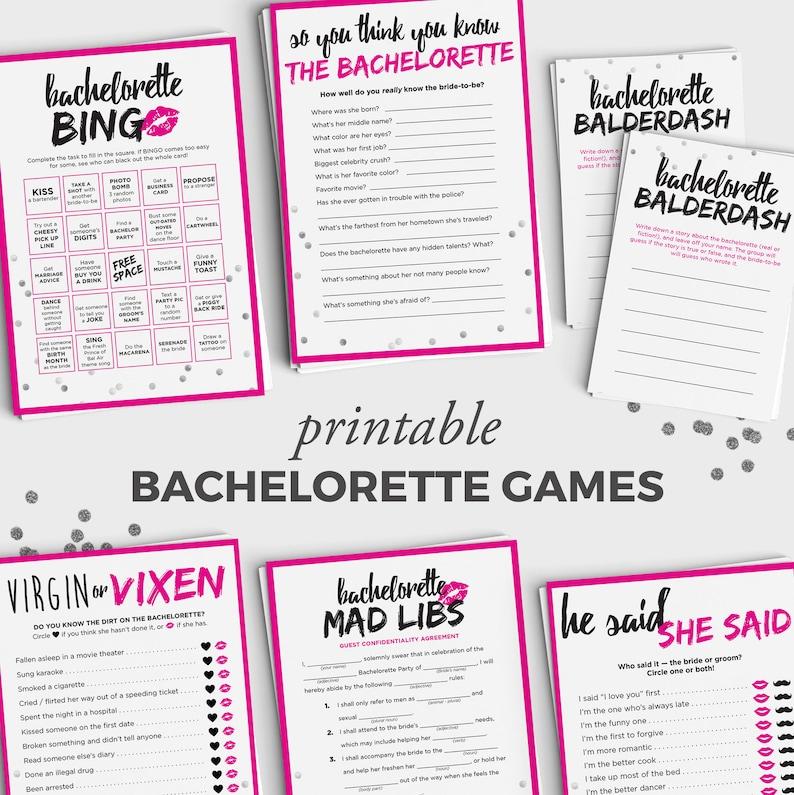 Bachelorette Game Bundle 6 Fun Printable Bachelorette Games Etsy