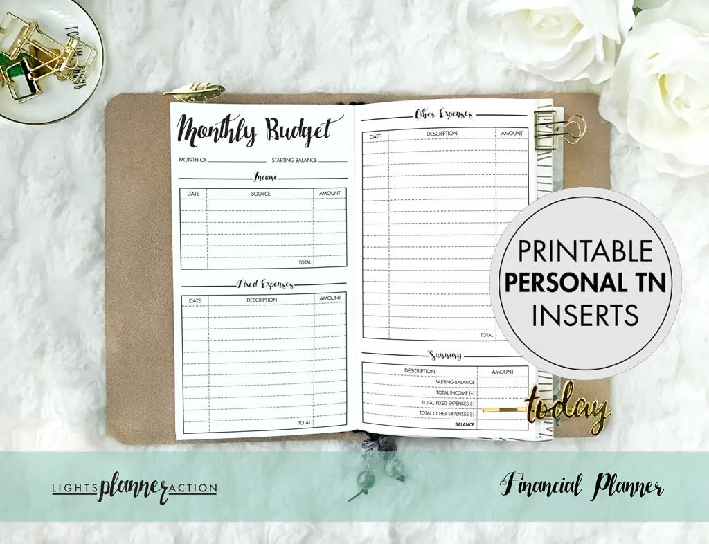 Printable Personal Financial Planner Travelers Notebook Etsy
