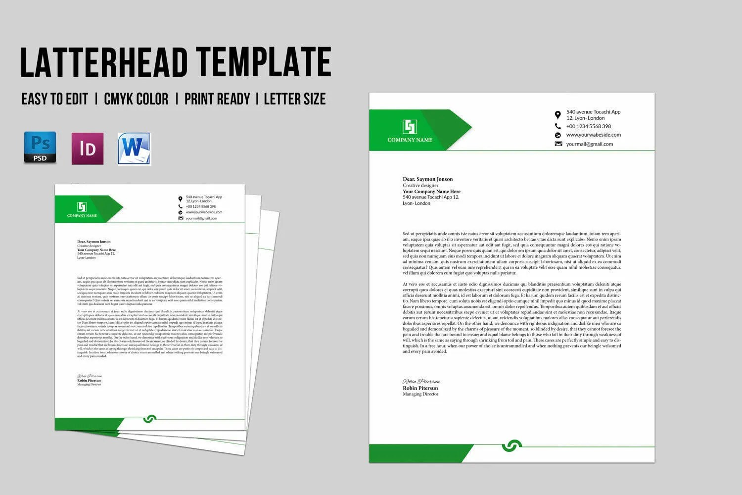 Corporate Business Letterhead Template Company Letterhead Etsy