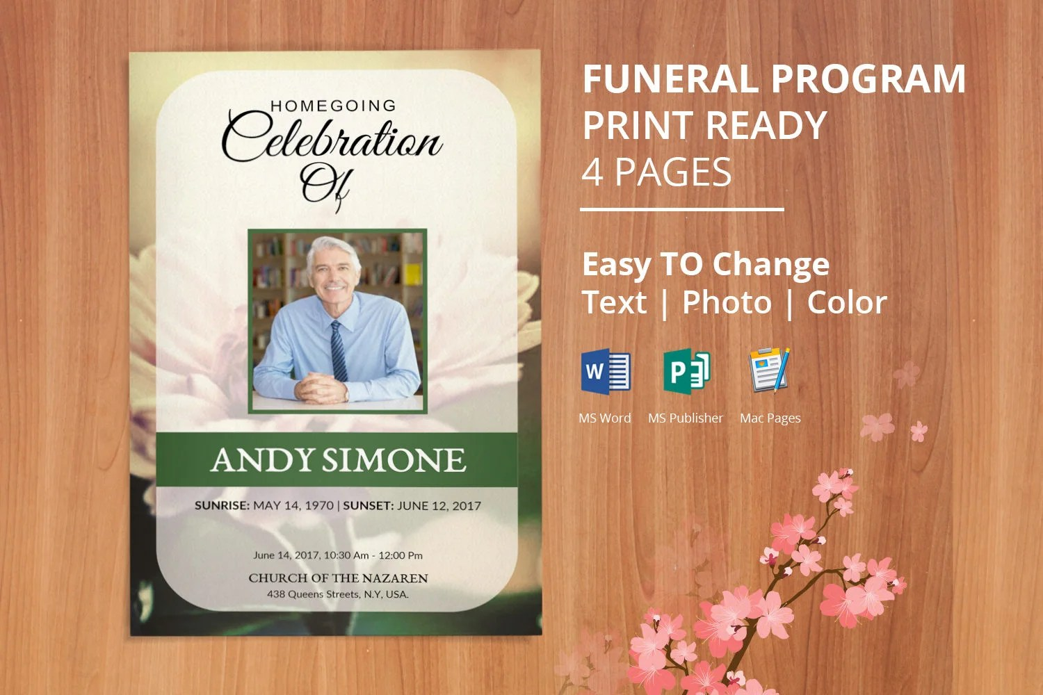 Printable Funeral Program Template Obituary Template Etsy